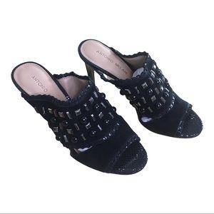 Like New Antonio Melani Black Grey Gem Stiletto Sandal